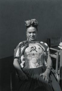 Frida Kahlo, 1941, displays her Communist sympathies with her therapeutic plaster chest cast