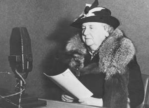 Queen Wilhelmina broadcasts over the BBC to her people in the Netherlands during WWII.