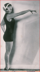 907 studio photo of famous champion Australian swimmer and silent Hollywood film star, Annette Kellerman. Her contribution to women's liberation was her advocacy of a comfortable women's swimsuit.
