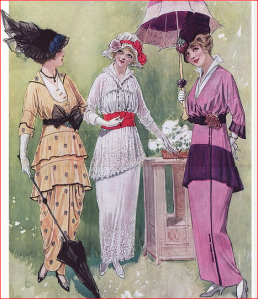 1914 day dresses featuring Peter Pan collars.