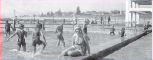 Agatha swims at Sea Point, February 1922.