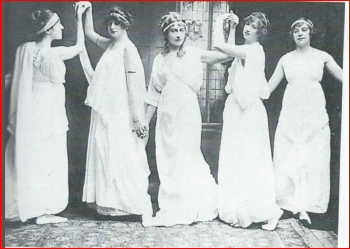Agatha Christie (center) at a dancing class, Torquay. She was a good dancer. undated photo