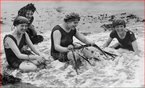 Wearing modern one-piece suits inspired by swimmer Annette Kellerman, women bathers gather seaweed and laugh.  Aberystwyth, Cardiganshire in Wales, 1916