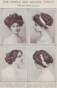 Edwardian Era hairstyles had to be big and poufy to hold the enormous hats the Edwardians were so fond of.