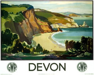 a Great Western Railways travel poster illustrates the allure of the Devon Coast