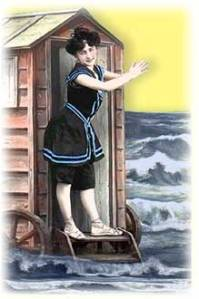 Swimmer exits the bathing machine in her Victorian swimsuit ca. 1905