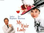 """My Fair Lady"" soundtrack poster. Miss Hepburn wears the Ascot ensemble."