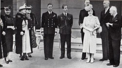 The Exiled Royals with the King and Queen of England, WWII (photo undated). From left to right: Queen Marie of Yugoslavia,Miss Benesj,Queen Wilhelmina of the Netherlands,Miss Raczkiewicz,King George VI of England,King Peter of Yugoslavia,King Haakon of Norway, Queen Elizabeth (The Queen mother) of England, the President of Poland, M. Raczkiewicz and Dr. Benesj, President of Tsjecho- Slovakia.