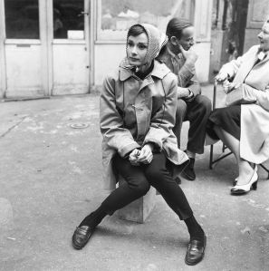 Audrey Hepburn in loafers and scarf. Undated photo