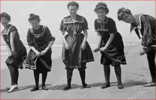 Women wearing Victorian swimwear and keeping their legs hidden from male view. 1905, origin unknown