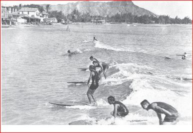 Surfers at Waikiki Beach, Honolulu. Aug./Sept. 1922. Photograph by Agatha Christie
