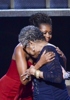 First Lady Michelle Obama hugs Maya Angelou (2012). Getty Images