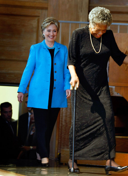 Maya Angelou campaigns for Democratic Presidential Candidate Hillary Clinton prior to the crucial Pennsylvania Primary, 2008. Even though Ms. Angelou walks with a cane, you can see that she is a towering figure at 6 feet tall.