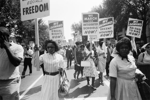 At the March on Washington, August 1963, peaceful African-Americans called for decent jobs with equal pay.