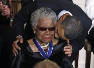 Maya Angelou receives a Medal of Freedom from President Obama at the White House in Washington in this February 15, 2011 file photo. U.S. author and poet Maya Angelou has died at age 86 in North Carolina.. REUTERS/Larry Downing/Files