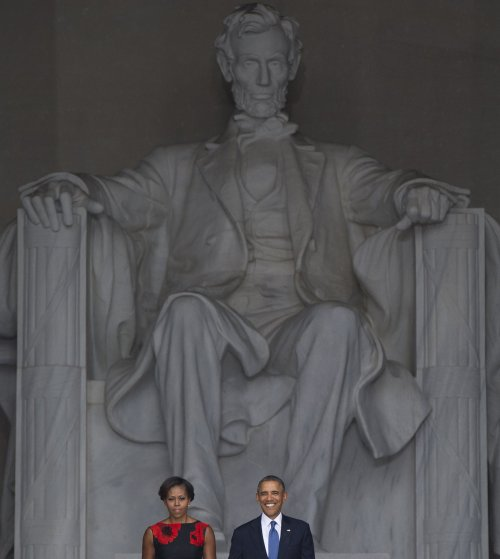 "President Barack Obama spoke from the Lincoln Memorial steps to honor the half-century anniversary of Dr. Martin Luther King, Jr.'s iconic speech, ""I Have a Dream."" August 28, 2013. Credit: Getty Images"
