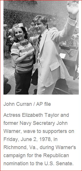 Elizabeth Taylor and John Warner campaign for the U.S. Senate seat. June 2, 1978