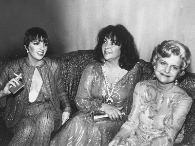 Elizabeth Taylor, center, hangs out at Studio 54 with singer Liza Minnelli (l.) and First Lady Betty Ford (r.). 1979