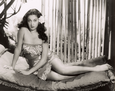 "Dorothy Lamour wearing a new version of a sarong in ""Jungle Princess,"" 1936. Costumes by Edith Head."