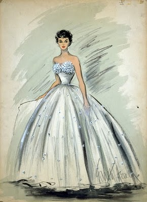 "An Edith Head sketch of Elizabeth Taylor's white tulle gown in ""A Place in the Sun."" (1952)"