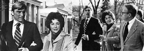 Engaged to be married, Elizabeth Taylor and John Warner visit his alma mater, Washington and Lee, as well as visiting nearby Virginia Military Institute. November 11, 1976