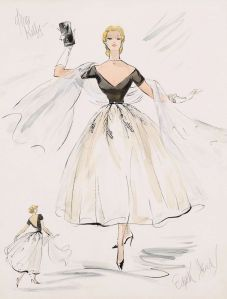 "Sketch for evening gown by Edith Head for Grace Kelly in ""Rear Window,"" 1954."