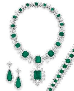 The Grand Duchess Vladimir Suite of emeralds and diamonds, once part of the Elizabeth Taylor Collection
