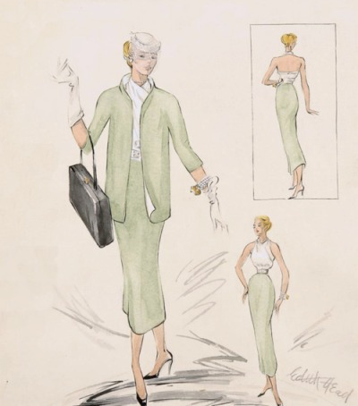 "Edith Head sketch for Grace Kelly suit in ""Rear Window,"" 1954"