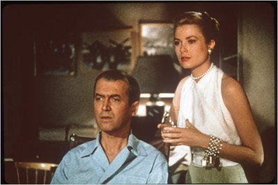 "Shown here with costar Jimmy Stewart, Grace Kelly wears the green suit shown in the sketch above, sans jacket. ""Rear Window,"" 1954.  Costumes by Edith Head."