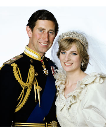 Prince Charles and Princess Diana smile for their wedding photo. July 1981
