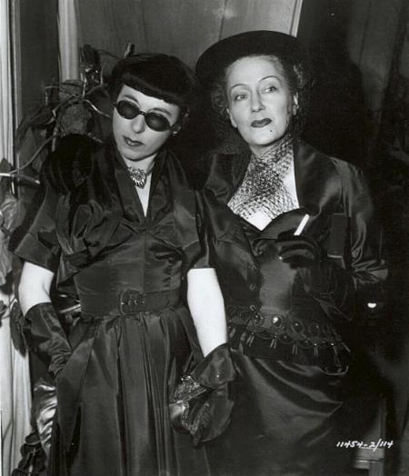 Costume designer Edith Head and film star Gloria Swanson. Undated photo