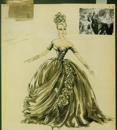 "Edith Head sketch for gold masquerade gown for Grace Kelly in ""To Catch a Thief,"" 1955."