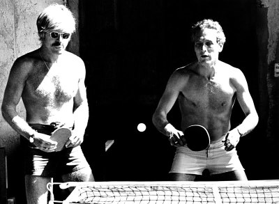 Robert Redford and Paul Newman play ping pong. Undated photo.