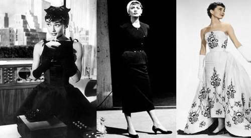"Audrey Hepburn wears three dresses from the movie, ""Sabrina,"" 1954. Edith Head designed the ""Cinderella"" clothes that Audrey's character wears before she travels to Paris. Upon her return, she wears a wardrobe designed by Hubert de Givenchy. Edith Head accepted the Academy Award for Best Costume Design and took credit for De Givenchy's work."