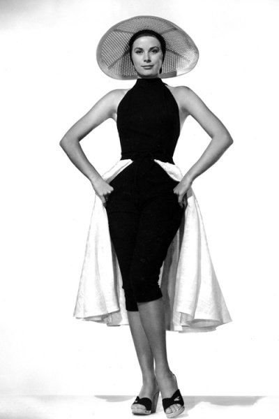 "Grace Kelly models sunsuit from ""To Catch a Thief,"" 1955. Costume by Edith Head."