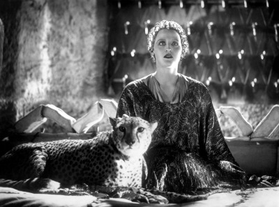 "Brigette Helm as the Queen of Atlantis, the Lost Continent, shown here with one of her screen cheetahs.  ""L'Atlantide"" (1932)"
