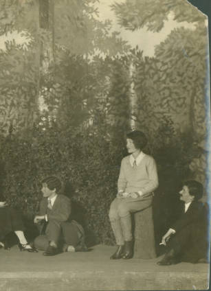 "Katharine Hepburn, Bryn Mawr Class of 1928, is seen third from right in the dramatic production,""The Truth About Blayds,"" by A. A. Milne. At an all-girls college, Ms. Hepburn had the opportunity to play male as well as female roles."