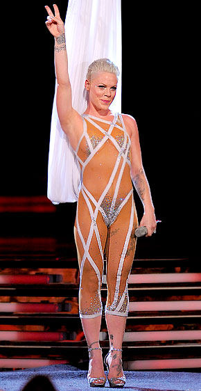 Singer Pink performs at the 2010 Grammy Award Ceremony in her nude sequined bodysuit by Bob Mackie.