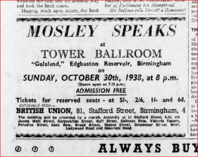 ad Mosley Speaks October 29, 1938_ACTION. No. 141, Page Efcvcrt