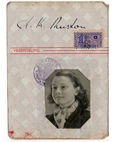 Nazis required all Dutch people over the age of 15 to carry an i.d. card. Here is Audrey's at age 15. Her card doesn't bear the dreaded letter, J, for Jew, which would mark her for deportation to the east for gassing at Auschwitz. 1944