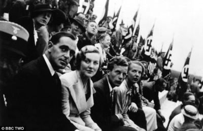 "British citizens at the Nuremberg Rally, Germany, ca. 1935-35. Second from left is Diana Mitford, who marries Sir Oswald Mosley. Third from left is journalist Michael (""Micky"") Burn."