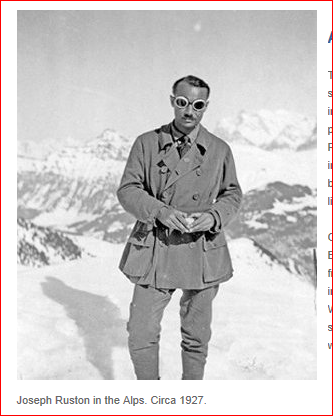 Audrey Hepburn's father in the Alps, 1927: Joseph Anthony Victor Ruston (later Hepburn-Ruston)