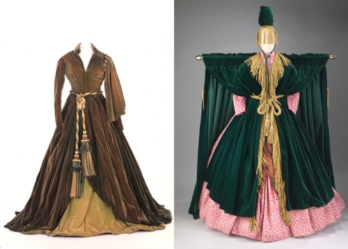 "At left, the green curtain rod dress designed by Walter Plunkett and worn by actress Vivien Leigh in the 1939 film, Gone With the Wind. At right, is the Bob Mackie spoof of this dress for the Nov. 1976 ""Went With the Wind"" parody shown on The Carol Burnett Show and worn by Ms. Burnett."