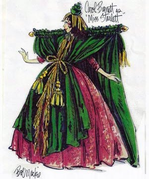 "Bob Mackie's sketch of Carol Burnett wearing the curtain rod dress for ""Went With the Wind."""