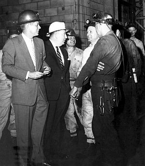 Senator John F. Kennedy wears a hardhat. May 1959