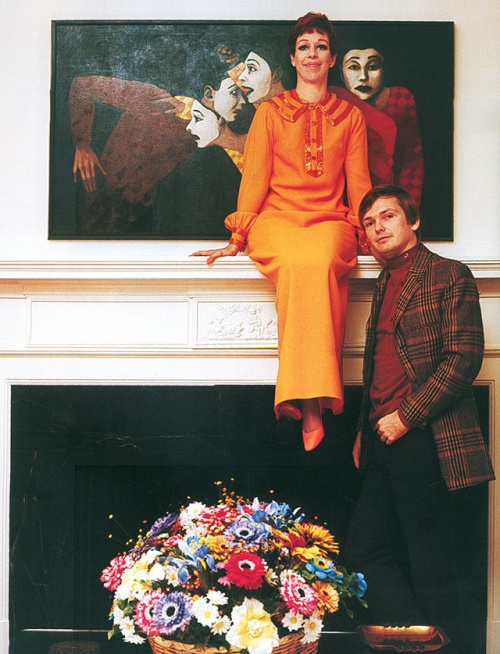 Carol Burnett and Bob Mackie at Carol's home, 1967