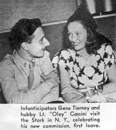 Gene Tierney and husband Oleg Cassini celebrate the birth of their first child with a night out in New York City at the Stork Club. Mid 1943.
