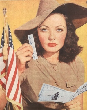 Gene Tierney encouraged Americans to buy war bonds.