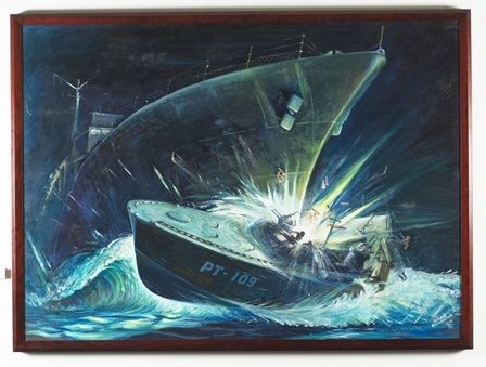 Painting of the August 2, 1943 sinking of PT-109 by the Japanese destroyer Amagiri. By Gerard Richardson. Courtesy of the John F. Kennedy Library and Museum