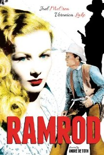 In Ramrod, Veronica Lake can let her hair down once again, as the war has been over for 2 years.